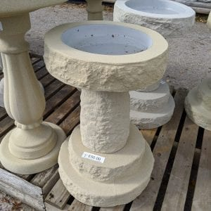 Short Birdbath - Rough Cast